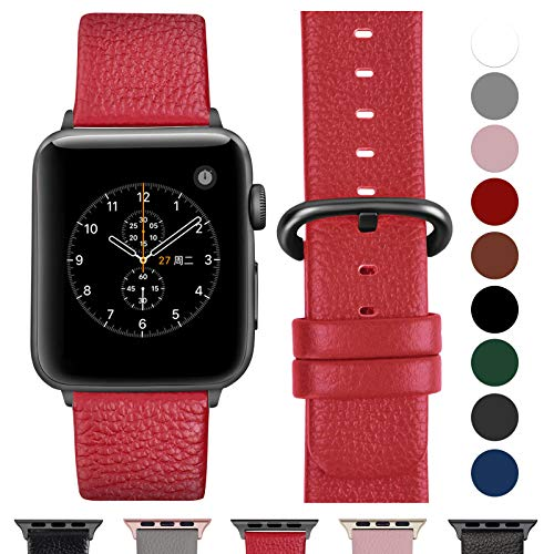 Fullmosa Compatible Watch Strap 38mm 3 Series Leather, for 14 Colors StrapWatch 3 Series, 2 Series, Nike 1 Series + Hermes & Edition, Red + Smoked Gray Buckle, 38mm