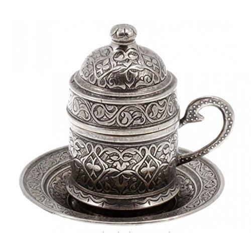 Kupfer Espressotasse Türkischer Kaffee Tasse und Untertasse osmanischen Stil (Alt silberfarbe)