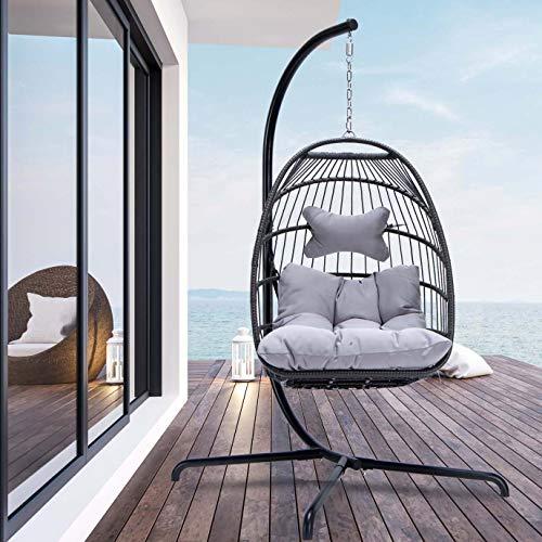 Nicesoul - Silla colgante de mimbre para interiores y exteriores, con estructura de aluminio, 350 libras de capacidad para patio, trasero, balcón