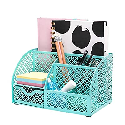 ANNOVA Mesh Desk Organizer Office with 7 Compartments + Drawer/Desk Tidy Candy/Pen Holder/Multifunctional Organizer (Turquoise)