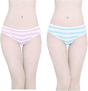 Hot Cute Japanese Style Blue&pink Stripe Panties Bikini Cosplay Cotton Underwear