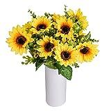 Jinhot Artificial Sunflower 2 Bouquet Artificial Flowers Fake Sunflowers - 12 Flowers Per Bunch for DIY Wedding Office Party Garden Hotel Home Decoration