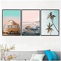 ウォールアート、シーウェーブビーチパームツリーカーサーフボードキャンバス絵画北欧のポスターとプリント壁の写真リビングルームフレームなし