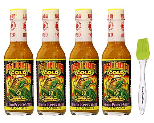 Iguana Gold Habanero Island Pepper Sauce, 5 oz (Pack of 4) Bundled with PrimeTime Direct Silicone Basting Brush in a PTD Sealed Bag