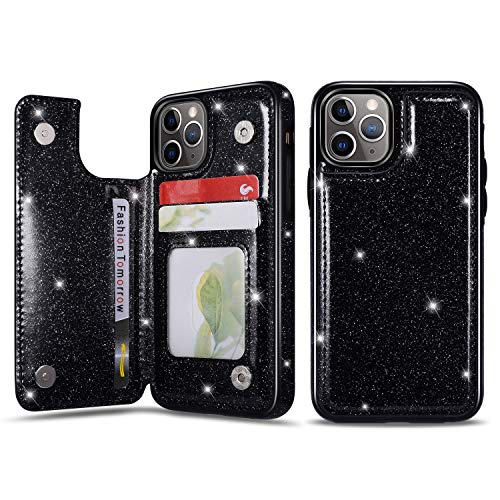 UEEBAI Case for iPhone 11, Premium Glitter PU Leather Case Back Wallet Cover [Two Magnetic Clasp] [Card Slots] Stand Function Durable Shockproof Soft TPU Case - Black#2