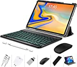 2 in 1 Tablet with Keyboard 10 Inch Android 10.0 Pie, 4GB RAM + 64GB ROM, Quad Core, Google GMS Certified, IPS HD Display, 8MP Dual Camera, Dual 4G SIM, 8000mAh, WiFi (Black)