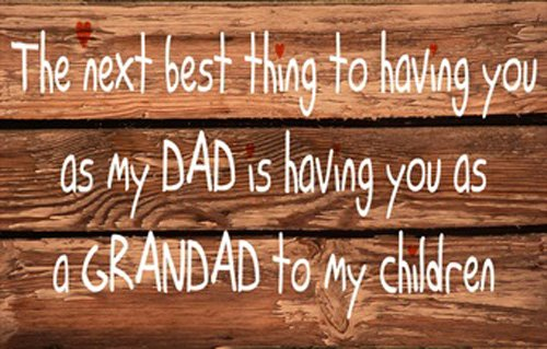 Homestreet Signs Quality Laminated Wooden Sign Plaque With Message for Grandad, reads,' The next best thing to having you as my Dad is having you as a Grandad to my children' 16cm by 25cm