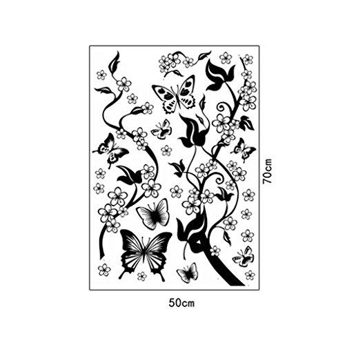 Junecat Vine Fiori Neri della Decorazione della Parete 50x70cm Adesivi murali Farfalla Film Home Decor