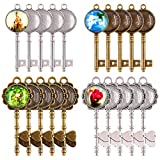 Glarks 48-Pieces Vintage Pendant Trays Set, 24pcs Skeleton Keys Pendant Trays with 24pcs Bright Glass Dome Tiles Cabochon for DIY Wedding Party Gifts Jewelry Necklace Pendants Decoration