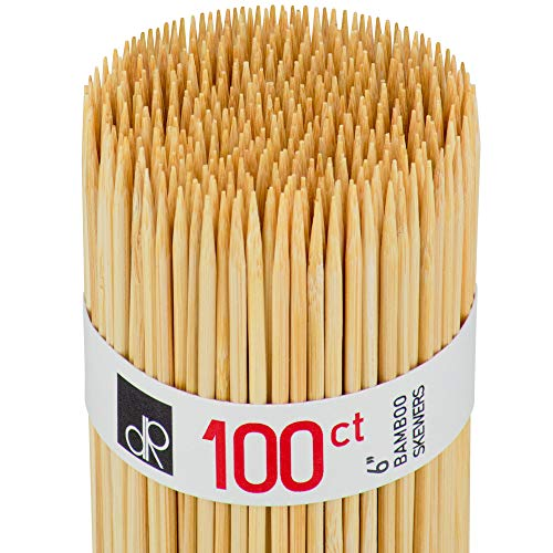 DecorRack Natural Bamboo Skewer Sticks, Natural Wood Barbecue Kabob Skewers, Best for Grill, BBQ, Kebab, Marshmallow Roasting or Fruit Sticks, 6 inch (Pack of 100)
