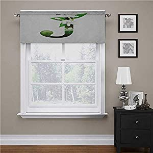 Interestlee Letter J Tier Curtains for Living Room Abstract Floral Arrangement J Silhouette and Jasmine Blossoms ABC Concept Rod Pocket Matches with Panels Green White Black
