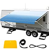 VEVOR RV Awning 15' Camper Awning Fabric, Trailer Awning Canopy Patio Camping Car Awning, Durable 15oz Vinyl Roller Tube for RV, Van, SUV, Patio Awning Replacement Ocean Blue Fade