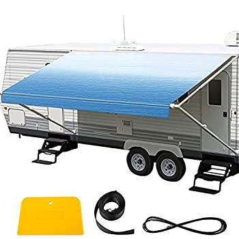 VEVOR RV Awning 15  Camper Awning Fabric Trailer Awning Canopy Patio Camping Car Awning Durable 15oz Vinyl Roller Tube for RV Van SUV Patio Awning Replacement Ocean Blue Fade