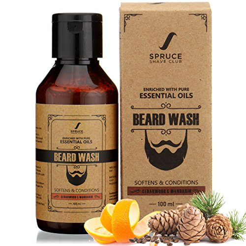 Spruce Shave Club Beard Wash For Men with Aloe Vera & Vitamin-E For a Cleaner & Stronger Beards | Cedarwood & Mandarin | Natural Beard Softener | No Sulfates or Parabens
