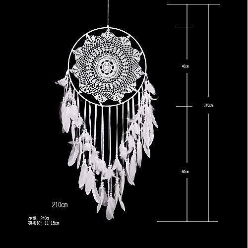 Traumfänger Natürliche Weiße Feder Perlen 40Cm Großen Kreativen Spitze Quaste Kreis Indischen Stil Anhänger Handarbeit Original Wand Auto Hanging Ornament Home Schlafzimmer Dekoration Lover's FA