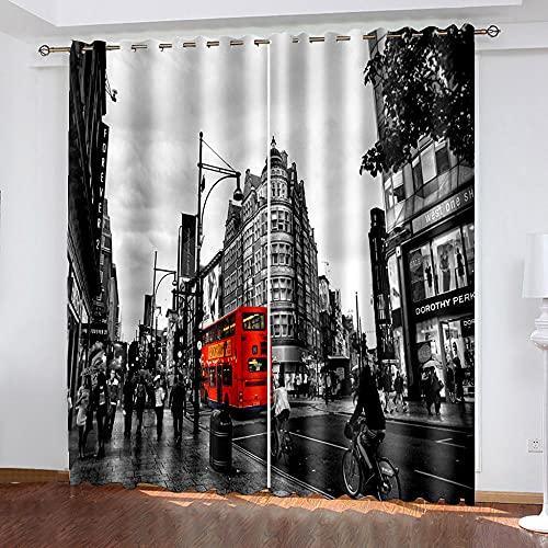 LWXBJX Cortinas Opacas Dormitorio Termicas - Autobús Urbano Gris - Impresión 3D Aislantes de Frío y Calor 90% Opacas Cortinas - 300 x 270 cm - Salon Cocina Habitacion Niño Moderna Decorativa