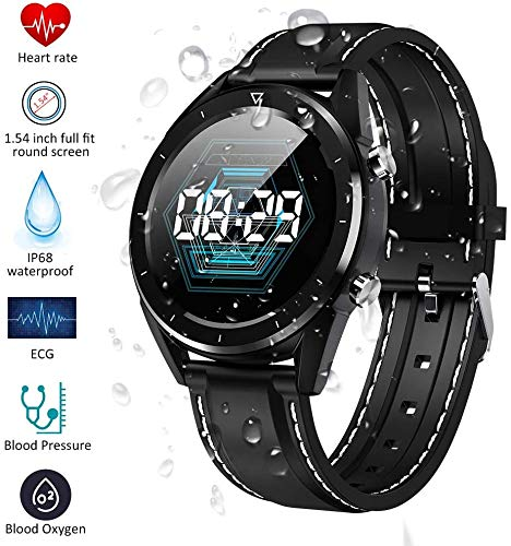 DOOK Intelligente Uhren, 1,54-Zoll-Full-Round-HD-Farb-Touchscreen-Fitness-Tracker mit Herzfrequenz-Tracking, IP68 wasserdichte Fitness-Uhr, Aktivitäts-Schlaf-Tracker Smart Reminder Smartwatch,Black 1
