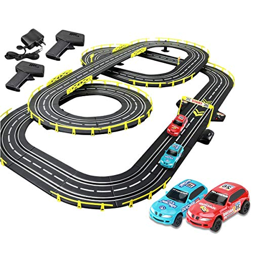 Pistas De Carreras 7.2M Track Carry Racing Race Rail Rail Slot Slot Car Vehicle Playets Splicing Track Race Track Sets Juguetes Modelo De Cumpleaños Regalo (Color : Electric, Size : 4 Cars)
