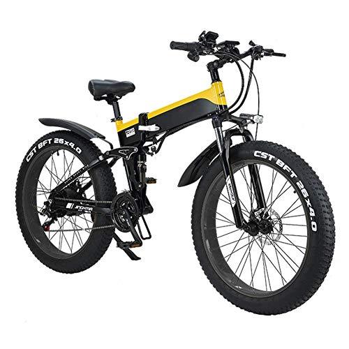 JIEER - Bicicleta eléctrica plegable para adultos, bicicleta de montaña híbrida, con...