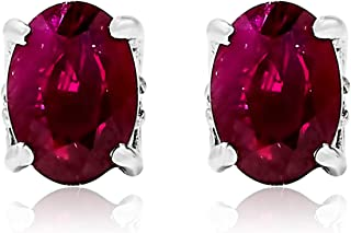 14k White Gold Oval Red Ruby Gemstone and Diamond Stud Earrings, Birthstone of July.