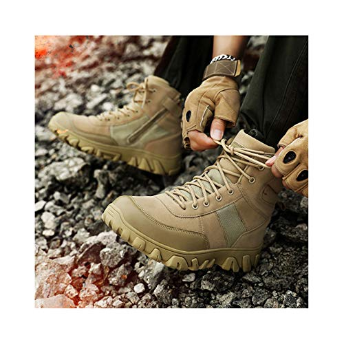 Botas Tácticas Unisex Botas Militares De Combate Hombres Ejército Caza Senderismo Camping Montañismo Zapatos Zapatos De Trabajo De Invierno,Beige-40