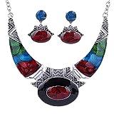 YAZILIND étnico Multicolor en Relieve Oval Gangle Tibetano Astilla del Babero del Collar de los Pendientes del Collar de la joyería