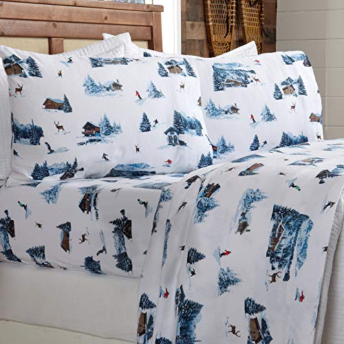 Extra Soft Lodge Printed 100% Turkish Cotton Flannel Sheet Set. Warm, Cozy, Luxury Winter Bed Sheets. Lakeview Collection (Twin, Snow Lodge)