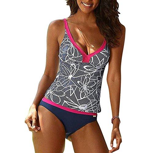 Inlefen Mujer Push Up Tankini Bikini Trajes baño