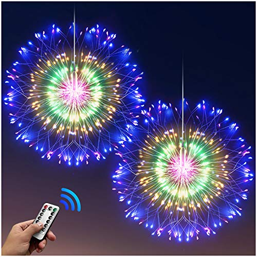 DenicMic Firework Lights Starburst Lights 200 LED Battery Operated Fairy Lights with Remote, 8 Modes Copper Wire Lights, Decorative Hanging Lights for Patio Party Indoor Christmas Decoration (2 Pack)
