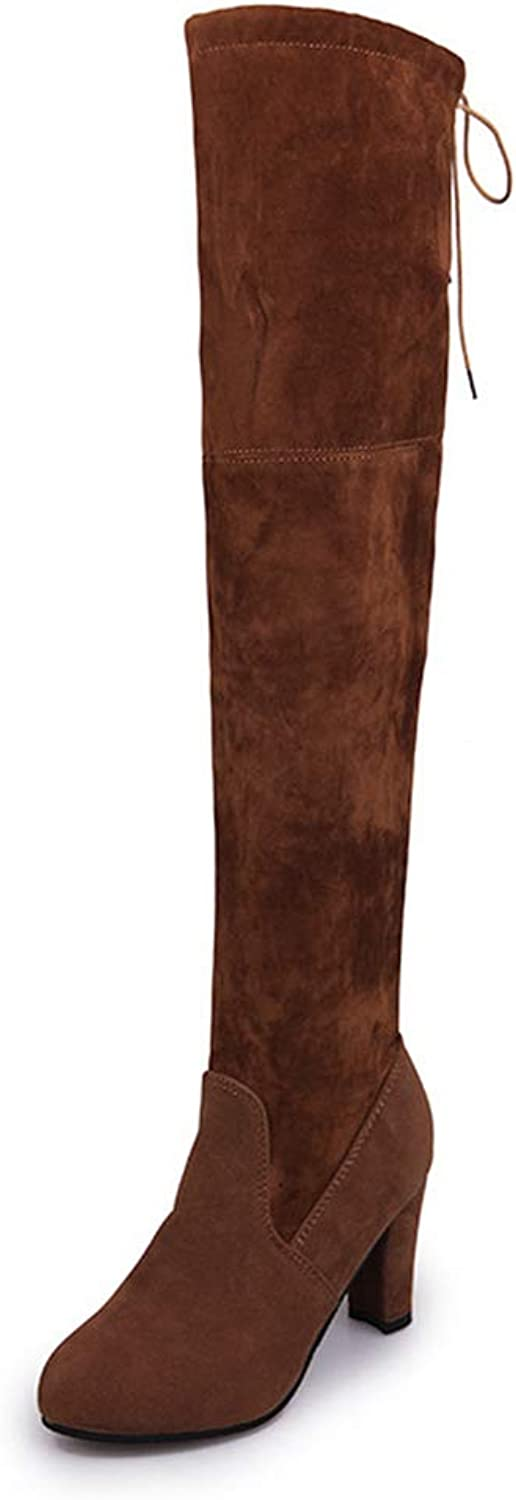 Women Long Boot Over The Knee Fashion Ladies Spring Winter Thigh High Lace-up High Heel Boots