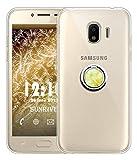 Sunrive Funda para Samsung Galaxy Grand Prime Pro 2018/J2 Pro, Silicona Slim Fit Gel Transparente Carcasa Case Bumper Anti-Arañazos Espalda Anillo Kickstand 360 Grados Giratorio Cover(Mármol Dorado)