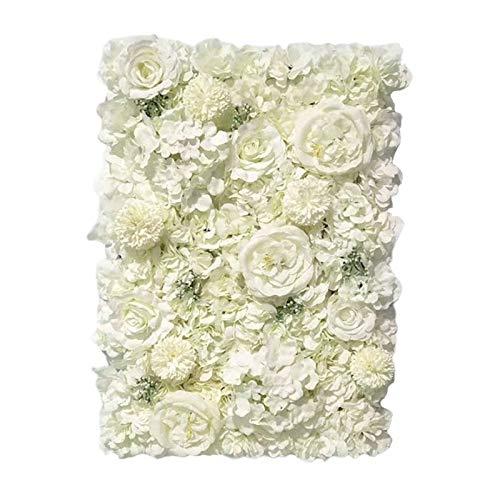 Milageto Paneles florales 24'x 16' Pantalla de pared de flores artificiales flores románticas fondo Floral decoración de boda foto fotografía Fondo decoración - Blanco