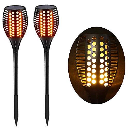 Lighting Arena 2-HT306A Antorcha LED solar impermeable para exteriores, decoración de jardín, efecto de llama, juego de 2, negro