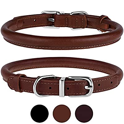 "BRONZEDOG Rolled Leather Dog Collar Durable Metal Buckle Round Pet Collars for Small Medium Large Dogs Puppy Black Brown (Neck Size 13""-16"", Brown)"