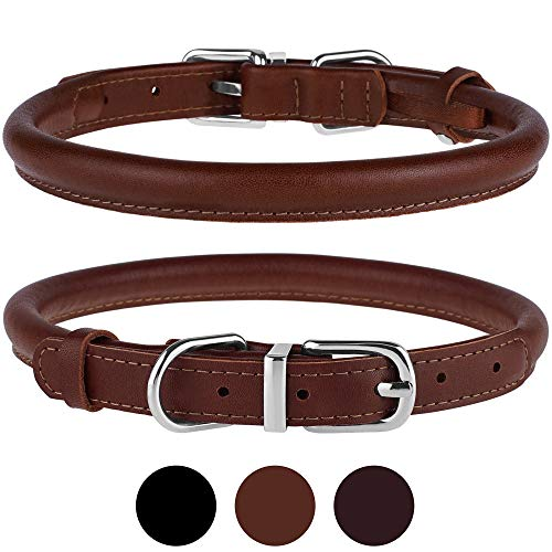 """BRONZEDOG Rolled Leather Dog Collar Durable Metal Buckle Round Pet Collars for Small Medium Large Dogs Puppy Black Brown (Neck Size 8""""-11"""", Brown)"""