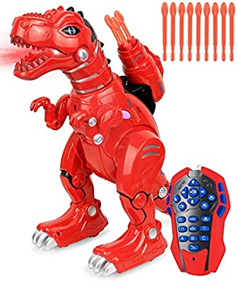 Click N' Play Remote Control Dinosaur Highly Intelligent Fire Breathing Dinosaur Robot with Loads of Features, Programmable, Entertains, Sings, Dances, Shoots Arrows, Askes Riddles Etc