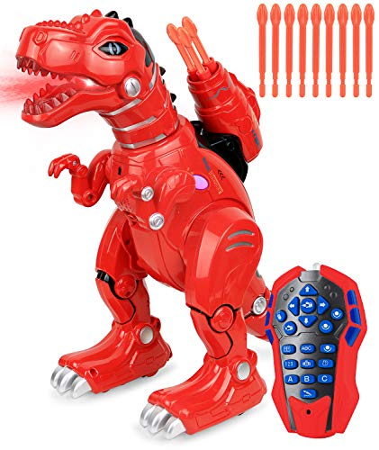 Click N Play Remote Control Dinosaur Highly Intelligent Fire Breathing Dinosaur Robot with Loads of Features Programmable Entertains Sing Dances Shoots Arrows Askes Riddles Etc