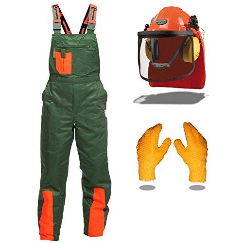 Schnittschutz Set WOODSafe® mit Schnittschutzhose Klasse 1, kwf geprüft, Form A, Forsthelm, Gehörschutz, Klappvisier, rutschhemmende Handschuhe, Größe 48