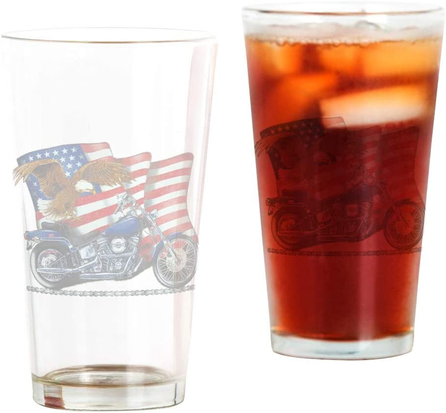 Max 43% OFF Pint Drinking Glass Motorcycle and Eagle Flag Japan's largest assortment US