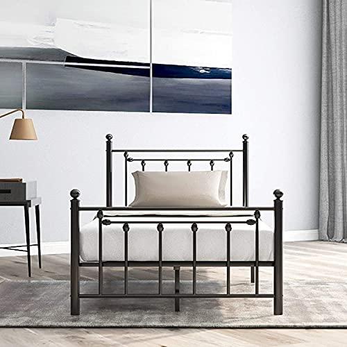 Estructura de Cama de Metal FRIG con cabecero y pie de Cama, Cama para dormitorios de niños, Adolescentes y Adultos, Negro (90 x 200 cm)