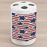 Lunarable Star Ceramic Toothbrush Holder, Stars on Stripes USA Americana Theme Independence National Celebration Party Print, Decorative Versatile Countertop for Bathroom, 4.5' X 2.7', Navy Blue Red