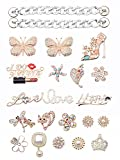 MoreDays Enamel Shoe Charms Jewelry Accessories Fits for Clog Sandals Decoration for Women Girls Party Favors Birthday Gifts CRYS009-golden-21PCS
