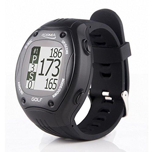 POSMA GT1+ Golf Trainer GPS-Golf-Uhr Entfernungsmesser, vorinstallierte Golfplätze, kein Download, kein Abonnement, schw