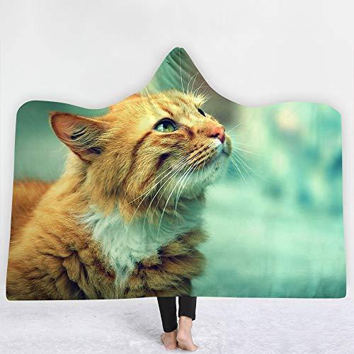 TCBHADH Manta con Capucha Impresa en 3D, Regalo, Ultra Suave y cálida, Manta de computadora de Invierno para TV para Adultos y niños Perros y Gatos Lindos