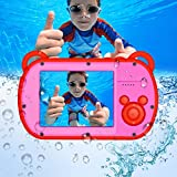 Underwater Camera for Kids, HD 1080P Waterproof Kids Camera, Video Recorder Action Preschool Camera, 8X Digital Zoom Camera with Flash and Microphone Sticker