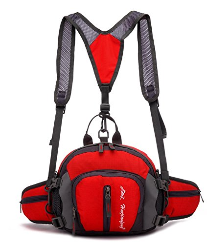 candoran imperméable extérieur poche taille de Sport Sac à bandoulière bandoulière Messenger sac pour randonnée, cyclisme, escalade, camping, chasse, rouge Rouge