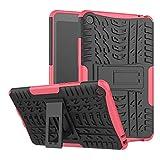 LUSHENG Rugged Armor Carcasa Trasera, Funda de TPU+PC con Textura de Neumático, Funda Protectora con Función de Soporte a Prueba de Golpes para Xiaomi Mi Pad 4 8.0' (2018) (Rosado)