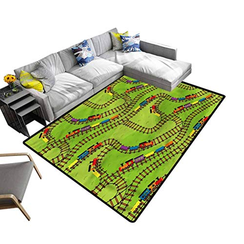 Train, Cute Rug Play Things Wagons on Road Modern Shaggy Area Rug Pad Decorative Floor and Best Gift for Children, 7'x 7'