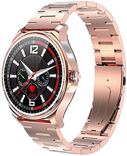 QHG Toque Completo de Pantalla Redonda Pantalla de Color Rastreador de Salud Smart Watch Bluetooth Free Fitness Tracker Monitor de Ritmo cardíaco Monitor de Acero Inoxidable (Color : Gold)
