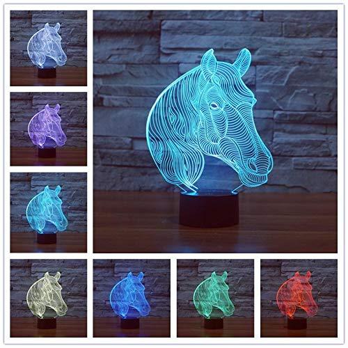Creativo abstracto de dibujos animados forma especial Animal salvaje 3D escritorio luz nocturna lámpara de mesa acrílico niño habitación decoración Navidad niños regalo cabeza de caballo